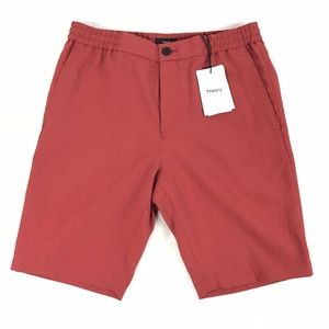 Theory Forged Synthetic Linen Shorts Blood Orange